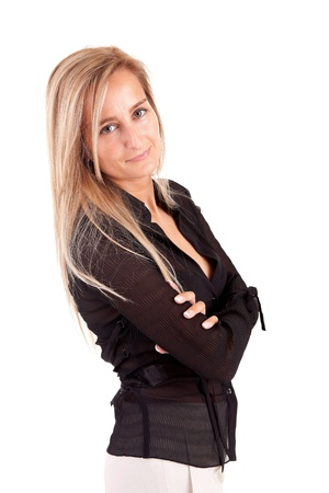 Beautiful business woman posing isolated photo