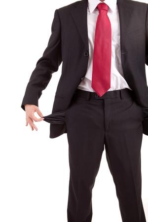 Man holding empty pocket, isolated over white background Stock Photo - 11825580