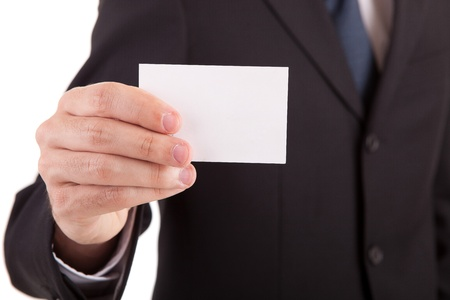 show cards: Young business man offering greeting card Stock Photo