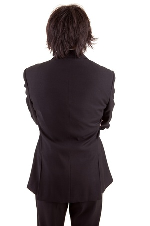 boy long hair: Business man posing backwards, isolated over white