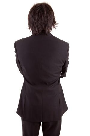 mann mit langen haaren: Business-Mann, die sich nach hinten, isoliert �ber wei� Lizenzfreie Bilder
