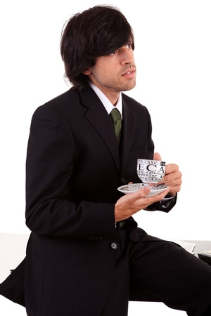 Business man relaxing with a coffee break photo