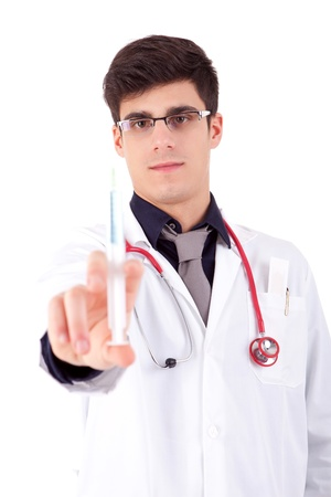Medic holding a syringe - selective focus on face Stock Photo - 12529034