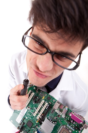 Computer Engineer, isolated over white background Stock Photo - 12529153