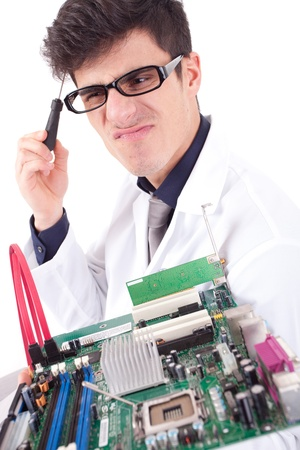 Computer Engineer, isolated over white background Stock Photo - 12529130