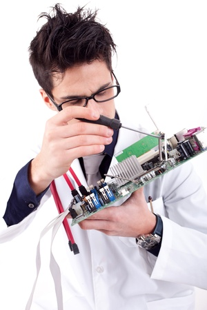 Computer Engineer, isolated over white background Stock Photo - 12529065