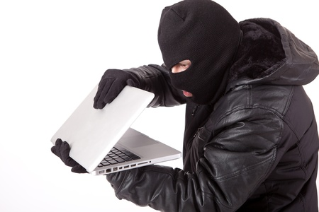Computer Hacker, isolated over white background photo