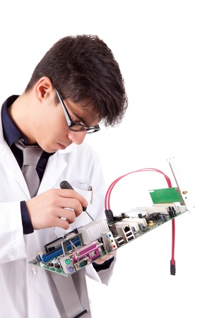Computer Engineer, isolated over white background Stock Photo - 12529204