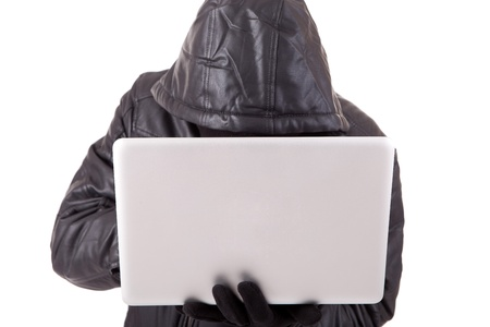 Computer Hacker, isolated over white background Stock Photo - 12529201