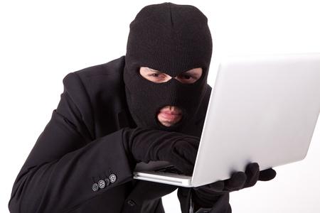 hacking: Hacker Computer in giacca e cravatta Archivio Fotografico