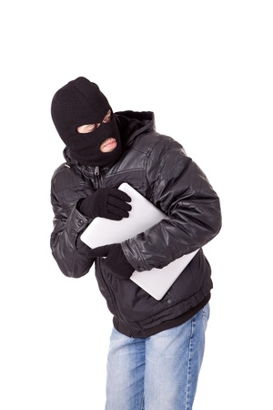 data theft: Thief holding a laptop, isolated over white background