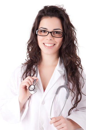 Young doctor posing, isolated over white background Stock Photo - 12529331