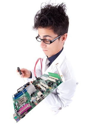 Computer engineer working on an old motherboard photo