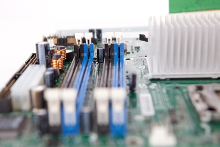 Close shot of an old computer motherboard photo