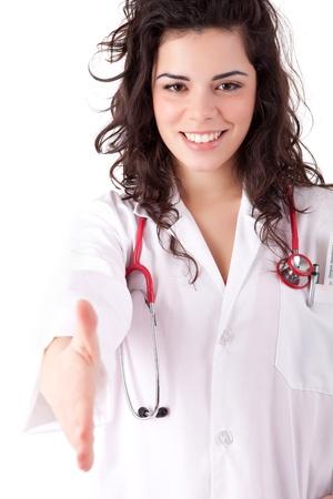 Young doctor offering handshake photo