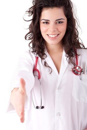 Young doctor offering handshake Stock Photo - 13209953
