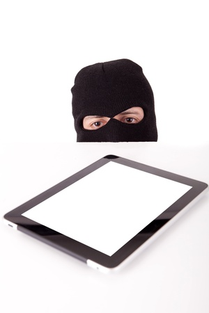 Disguised computer hacker in suit and tie photo