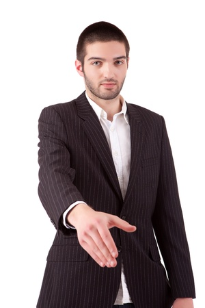 Young business man offering handshake Stock Photo - 13840435