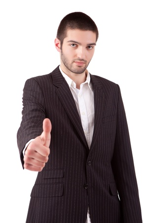 Business man showing thumb up, isolated over white Stock Photo - 13840457