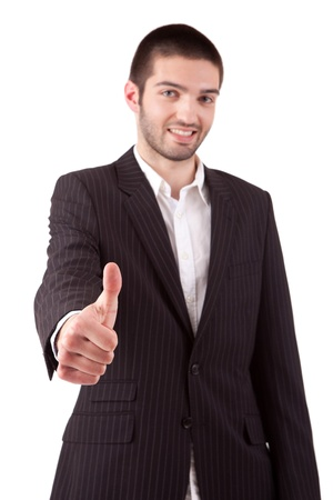 Business man showing thumb up, isolated over white Stock Photo - 13840356
