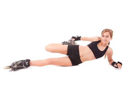 rollerskates: Young woman in rollerskates - fitness concept Stock Photo