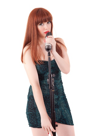 Young and hot singer, isolated over white background Stock Photo - 14104272