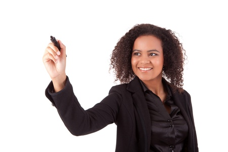 Business woman, drawing on whiteboard, isolated over white Stock Photo - 14104416