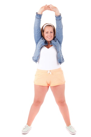 oversize: Beautiful large woman exercising - isolated over a white background Stock Photo