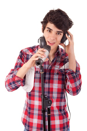 hansome: Young and very hansome boy singing Stock Photo