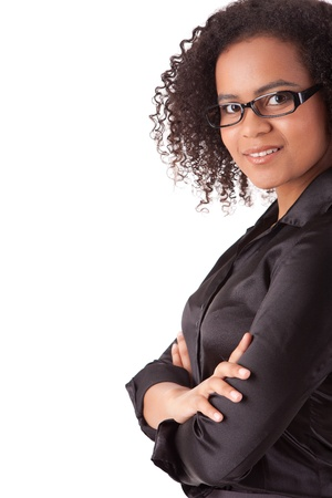 black secretary: Beautiful young business woman posing isolated over white