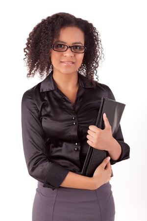 black woman face: Beautiful young business woman posing isolated over white