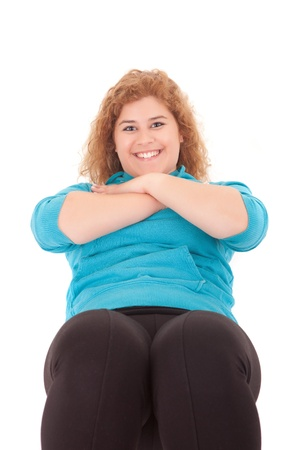 Beautiful large woman exercising - isolated over a white background Stock Photo - 14196639