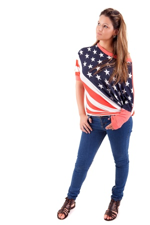 Beautiful young woman wearing United Stades of America shirt photo