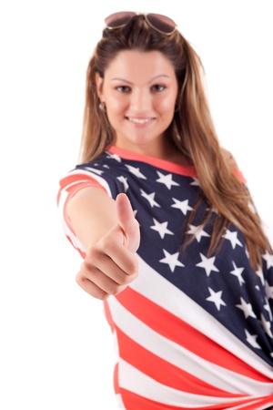 Beautiful young woman wearing United States of America shirt photo