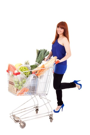 Beautiful young woman shopping at the supermarket Stock Photo - 14197662
