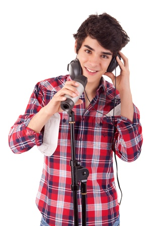 A young and handsome boy singing Stock Photo - 14326289