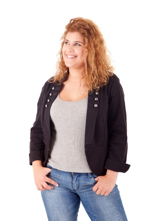 Happy large woman posing over a white background Stock Photo