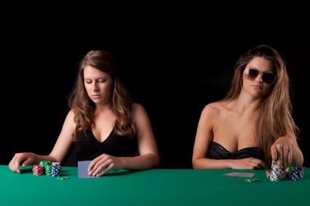 texas holdem: Very beautiful women playing texas holdem poker