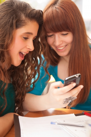 Two happy young beautiful women studying  photo