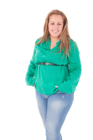 Happy large woman posing over a white background photo