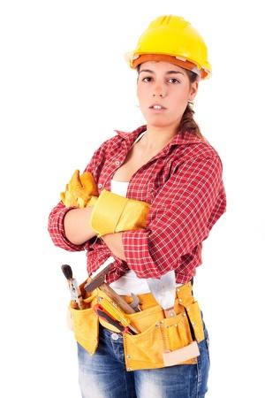 Sexy mujer joven trabajador de la construcción
