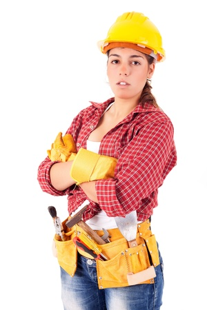 woman hard working: Sexy young woman construction worker