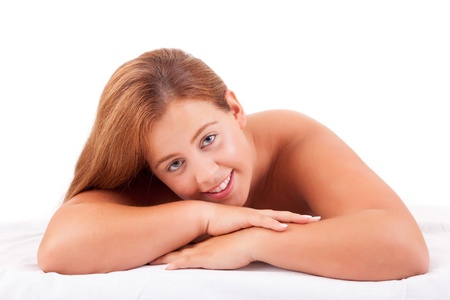 Young Large Woman taking a time for herself - beauty care concept Stock Photo