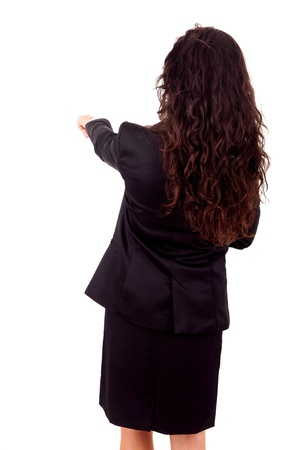 Business woman posing backwards isolated over white photo