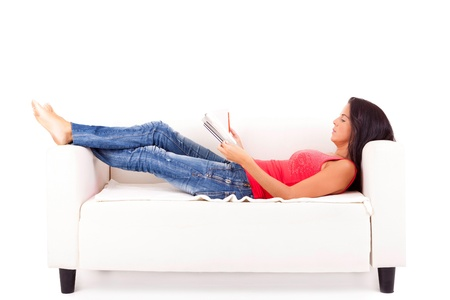 Young happy woman at house, taking a moment to relax  Stock Photo
