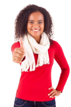 Happy young woman expressing positivity sign, isolated over white Stock Photo - 16547904