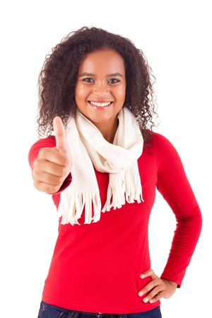 Happy young woman expressing positivity sign, isolated over white Stock Photo - 16547854