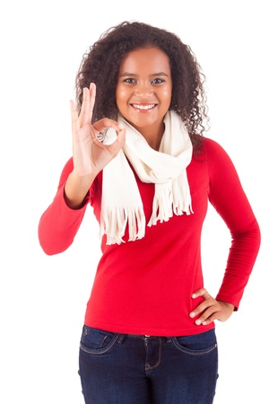 Happy young woman expressing positivity sign, isolated over white Stock Photo - 16547826