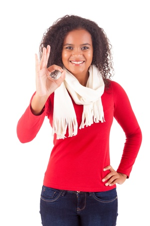 Happy young woman expressing positivity sign, isolated over white Stock Photo - 16547800