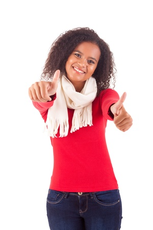 Happy young woman expressing positivity sign, isolated over white Stock Photo - 16547817